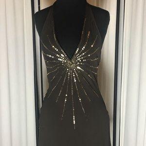 BCBGMaxAzria Dresses - BCBGMaxAzria Halter Cocktail Dress w Embellishment